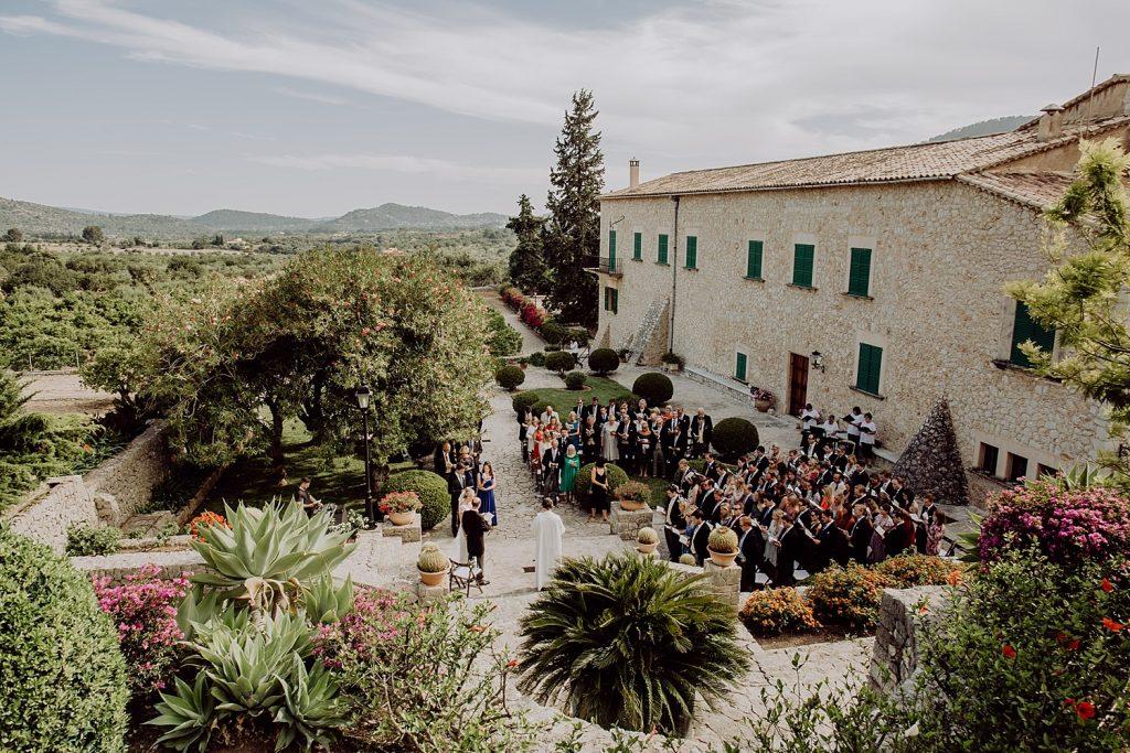 Son Berga Mallorca wedding aerial view