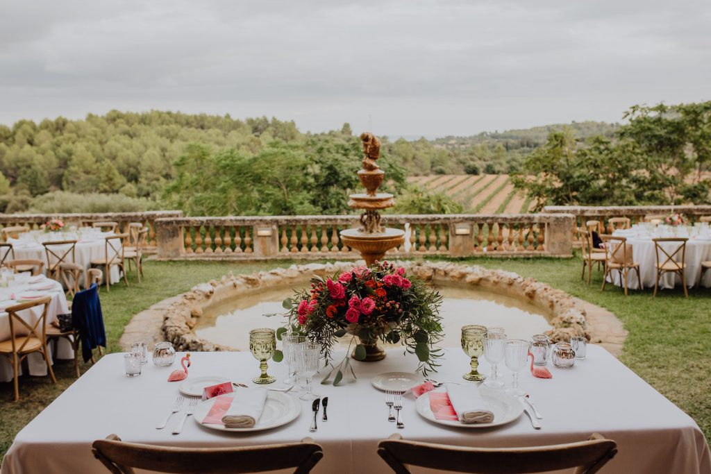 Photo of a wedding reception table at Son Tugores in Mallorca