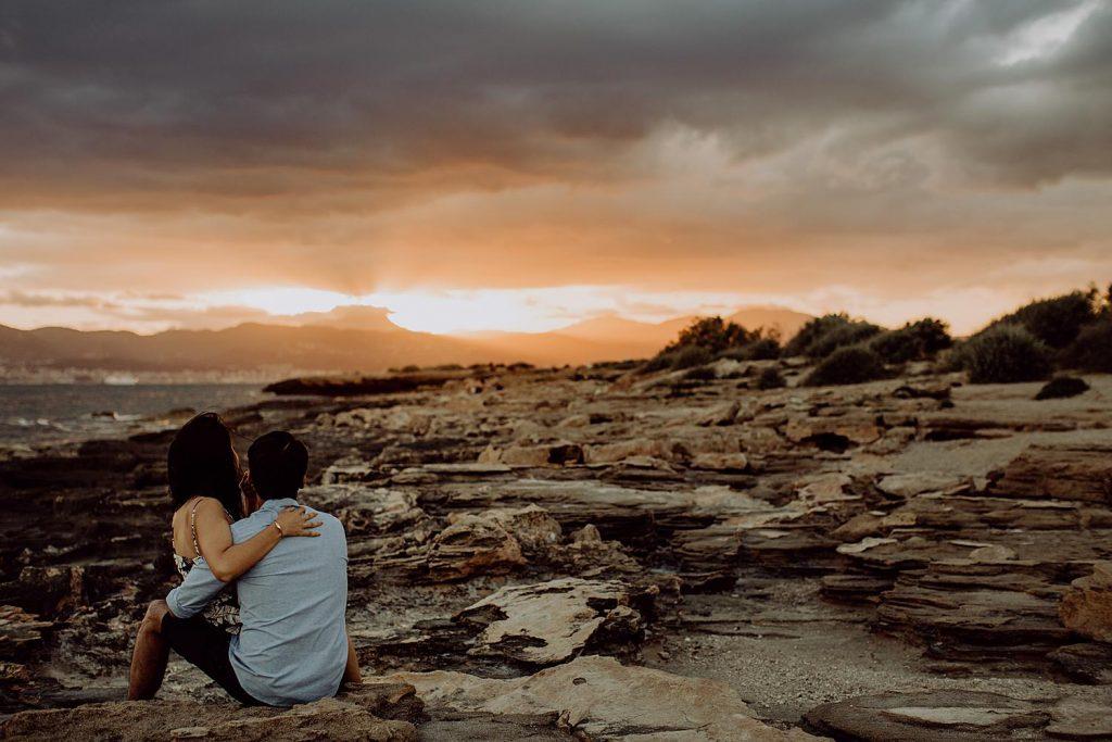 Sunset engagement photographer Mallorca